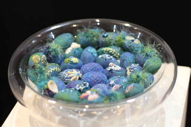 Tidal Pool sculptural work. Glass bowl with felted embroidered pebbles.